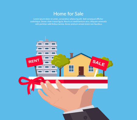 buy sell: House for sale. Broker keeps the house on the palm. Sold home with for sale sign in front of beautiful new house. Vector illustration