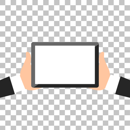 holing: Hands holing tablet computer with white blank screen. Using digital tablet pc flat design. Vector illustration