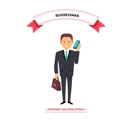 calling on phone: Businessman speaking on a phone. Success businessman with telephone speak, man worker calling to work and male young confident executive in suit speaking on telephone. Vector illustration Illustration