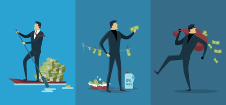 levied: Offshore companies, panamanian documents, jornalistic inestigation. Panama papers folder document.  Tax haven offshore company business people owners. Taxes are levied at low rate. Vector illustration Illustration