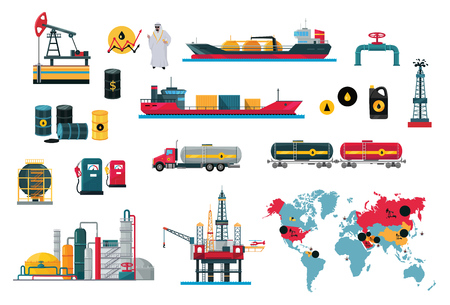 Set of icons concept of oil design. Oil technology industry business, and energy power fuel production drilling and, transportation ship tanker lorry and train flat style. Vector illustration