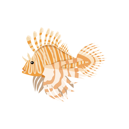 Tropical fish lionfish pterois volitans dangerous coral reef fish. Lionfish venomous dorsal spines. Vector illustration