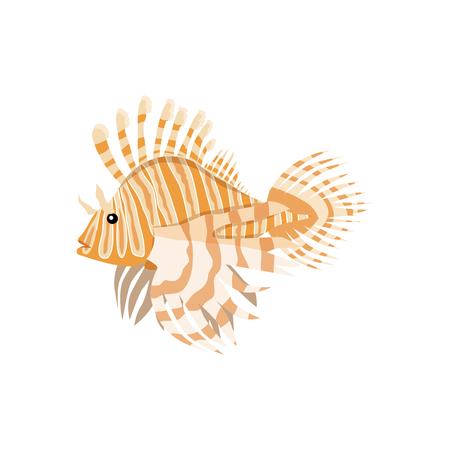 lionfish: Tropical fish lionfish pterois volitans dangerous coral reef fish. Lionfish venomous dorsal spines. Vector illustration