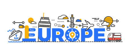 illustration journey: Travel europe word text creative design. Travel europe journey and monument famous. Trip airplane or aircraft transportation to paris and rome city tour, vacation tourism poster. Vector illustration Illustration