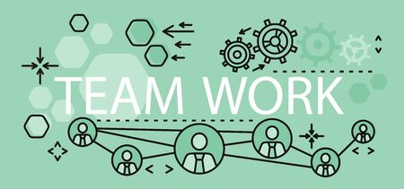 corporate team: Team work concept banner design. Banner with text team work, concept business strategy and idea management and planning. Development teamwork and corporate collaboration. Vector illustration