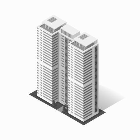 Icona della costruzione del logo del grattacielo. Costruzione e grattacielo isolato, architettura della città dell'ufficio e della torre, logo della costruzione di affari della casa, illustrazione di vettore dell'ufficio dell'appartamento Archivio Fotografico - 57622775