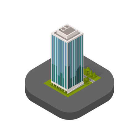 logo batiment: Skyscraper logo building icon. Building and isolated skyscraper, tower and office city architecture, house business building logo, apartment office vector illustration