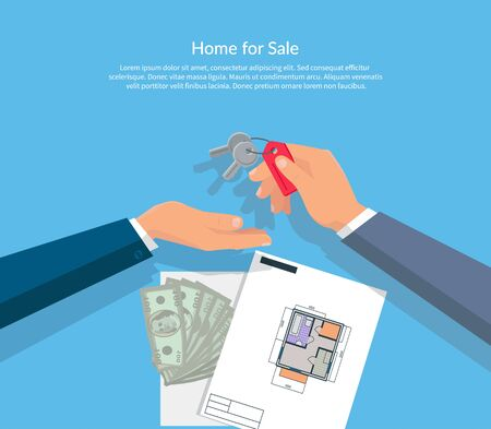 to invest: House for sale. Broker gives keys to the buyer of the apartment house and buyer gives the money dollars. Vector illustration