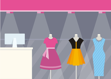 shopping centre: Shop front clothing store design flat style. Fashion woman wearing colorful dresses on mannequins that are behind glass shop illuminated by searchlights. Shopping centre design. Vector illustration
