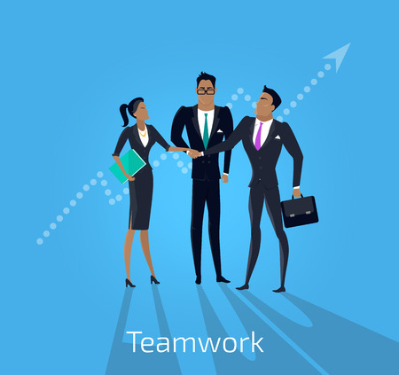 our people: Our success team design. Teamwork and business our team business, office team, business success, work people, company and leadership, businessman and worker, resource office vector illustration