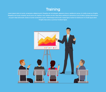 staff meeting: Training staff briefing presentation. Staff meeting, staffing and corporate training, employee training, mentor and people, business seminar, meeting group illustration
