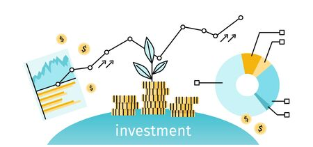 business metaphor: Finance investment concept banner. Graph or chart the growth of financial investment. Business Pie Chart increase in profits money. Metaphor sprout grew on a stack of gold coins. Vector illustration Illustration