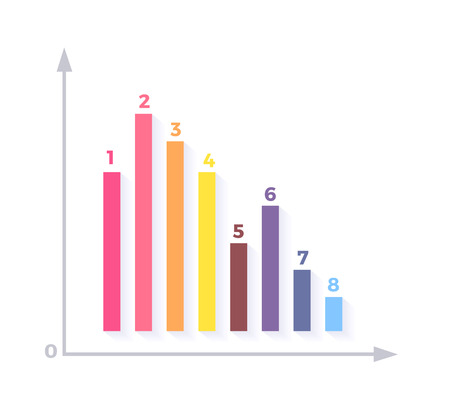 indicate: Level chart with colored arrows. Colored arrows indicate the level number. Charts and graphs business template for statistical or financial data report. Infographic information. Vector illustration
