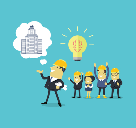 implementation: Implementation ideas architect. Successful architect in helmet and with blueprints in hand implements his idea of building a new building. Staff pleased with successes of colleges. Vector illustration