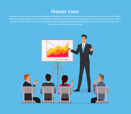briefing: Training staff briefing presentation. Master class, staff meeting, staffing and corporate training, employee training, mentor and people, business seminar, meeting group vector illustration