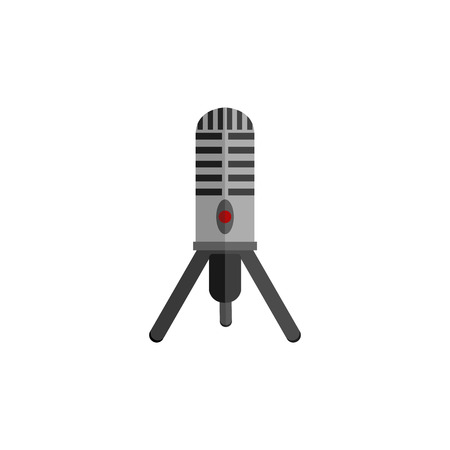 microphone stand: Microphone design flat isolated icon, vintage microphone stand, sound media, record vocal musical web broadcasting microphone vector illustration