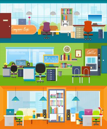 modern office: Set of modern office interior with designer desktop in flat design. Interior office room. Office space. Vector illustration. Working place in office interior workplace