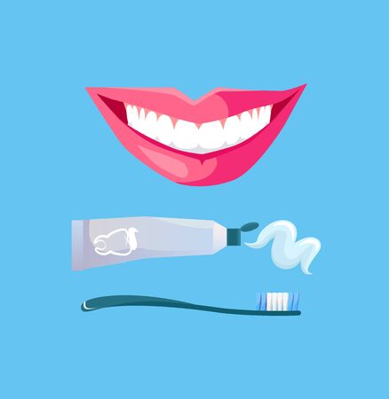 toothy smile: Smile with white tooth design flat. Dental and smile, teeth white, healthy dental, beauty and care smile, health and clean tooth, whitening human perfect toothy, smile white tooth illustration