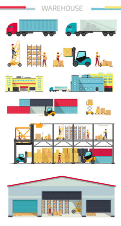 warehouse equipment: Concept infographics equipment warehouse. Delivery and cargo transportation, shipping service, industry freight and package, logistic industrial, export and distribution production vector illustration