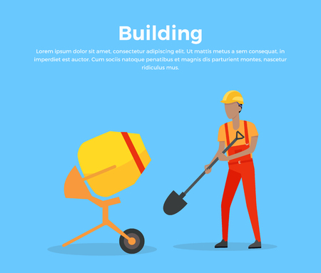 worker working: Building banner web design flat style. Working in a helmet with a shovel near a cement mixer. Construction and worker, mixer equipment for building, mix machinery working man, vector illustration Illustration