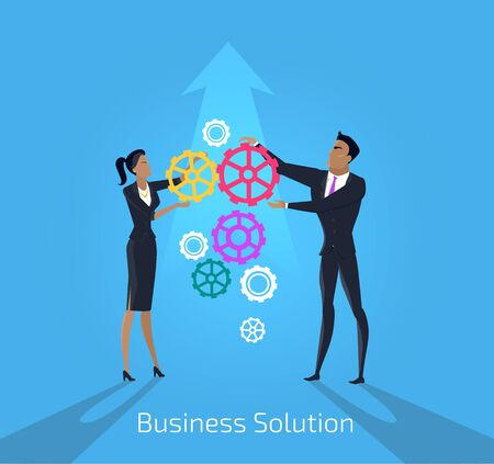 solve problem: Business solution. Man and woman. Solution business team and people teamwork success. Businessman and woman idea strategy and solve problem with partnership and challenge. Vector illustration