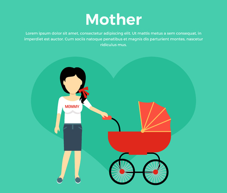 stroll: Mother with a baby carriage banner design flat. Parent mother walking with baby in the baby carriage. Mom young happy with toddler, female and motherhood, love and happiness, vector illustration