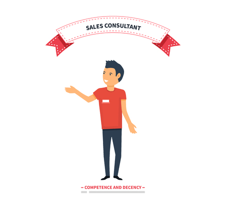 Sales consultant, sales trainer or mystery shopper company, street seller. Vector illustration Illustration