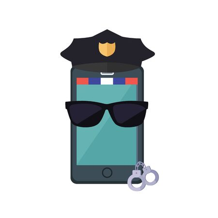 gorra policía: Phone protection design concept. flat style. Smartphone dressed in a police cap in black glasses with handcuffs. Protection of mobile phone and security digital access web, vector illustration