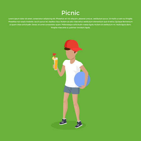 child boy: Concept picnic boy with ball and juice design. Child happy happiness in white t-shirt and orange fruit juice in glass, drink and relaxation young person, fresh nutrition tasty, vector illustration Illustration