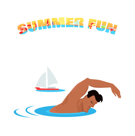 handsome guy: Summer fun banner poster concept design flat. Young handsome guy is swimming in the sea or ocean on summer vacation. Sport holiday with sailing ship, boy adult happy leisure, vector illustration Illustration