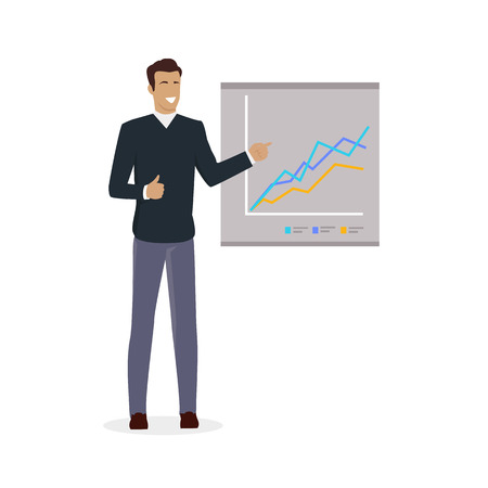 briefing: Training staff briefing presentation. Staff meeting, staffing and corporate business training, employee training, mentor business seminar meeting vector. Man near board with carts and graphs