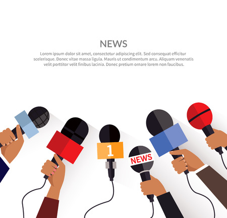 news background: News banner poster template flat. Set of microphone. Media tv and interview, information for television, broadcasting mass and communication, collection microphones in hand. Vector illustration