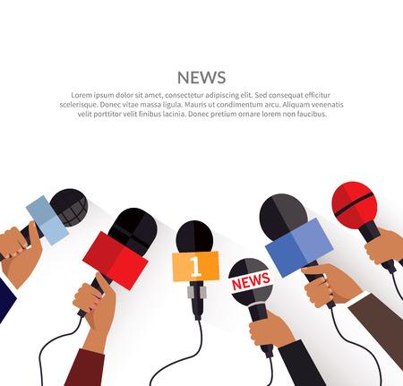 Nieuws banner poster sjabloon plat. Set van de microfoon. Media en tv-interview, informatie voor televisie-uitzendingen massa en communicatie, collectie microfoons in de hand. vector illustratie Stock Illustratie