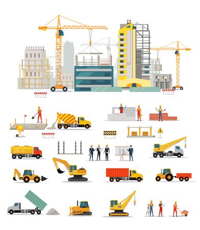 Proces van de bouw van woonhuizen geïsoleerd. Groot gebouw slaapzaal gebied. Iconen van bouwmachines, bouwvakkers en ingenieurs ontwerpen vlakke stijl. vector illustratie