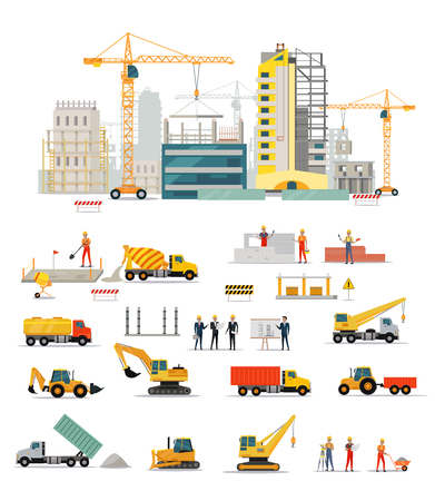 building site: Process of construction of residential houses isolated. Big building dormitory area. Icons of construction machinery, construction workers and engineers design flat style. Vector illustration