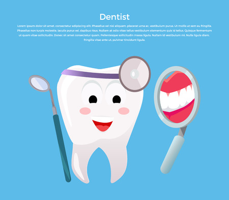 looking at mirror: Concept of Dentistry Banner Poster. Cartoon tooth with dental instruments looking in the mirror for happy smile design flat style. Medicine stomatology placard with space for text vector illustration