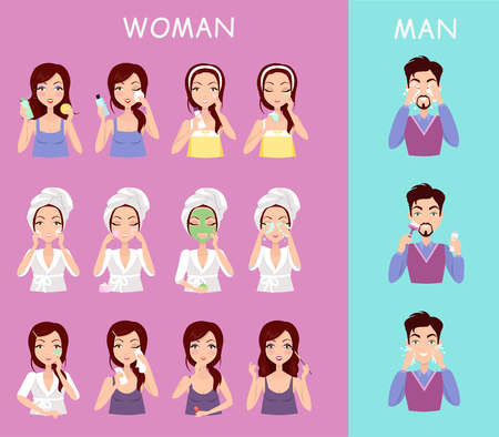 wash face: Instructions to wash face of woman and man. Boy washes his face with water and a shave. Girl cares for the person doing facials causes mask on the face. Vector illustration flat design style Illustration