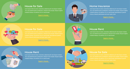 broker: House rent for sale, insurance. Real estate broker, rent house, apartment and moving house illustration. Set of banners
