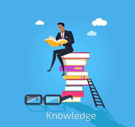 useful: Knowledge design flat concept. Male young businessman sitting on a pile of books and read useful information. Many books knowledge with glasses and stairs isolated blue background. Vector illustration