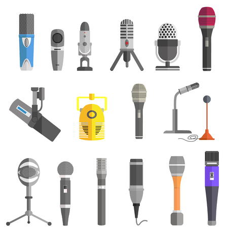 vocal: Microphone set design flat isolated icon, vintage microphone stand, sound media, record vocal musical web broadcasting microphone vector illustration