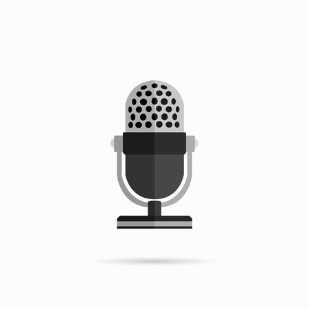vocal: Microphone design flat isolated icon, vintage microphone stand, sound media, record vocal musical web broadcasting microphone vector illustration