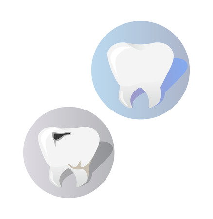 diseased: Healthy and diseased tooth design cartoon. Icons or sign, symbol of two teeth. Tooth with a hole or crack damaged.  Caries disease and care healthy medicine flat style concept. Vector illustration Illustration