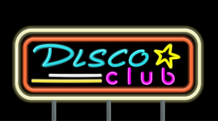 establishments: Neon signboard disco club design flat style. Signboard template for establishments working at night. Neon light disco night club with electric glow lamp frame and color text, vector illustration