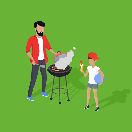 dad son: Father and son preparing barbecue design flat. Dad prepares a barbecue and nearby there is a son, and drink the juice holding the ball in his hand isolated on a green background. Vector illustration
