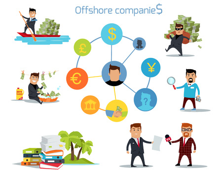 folder with documents: Offshore companies, panamanian documents, jornalistic inestigation. Panama papers folder document. Tax haven offshore company business people owners. Taxes are levied at low rate. Vector illustration