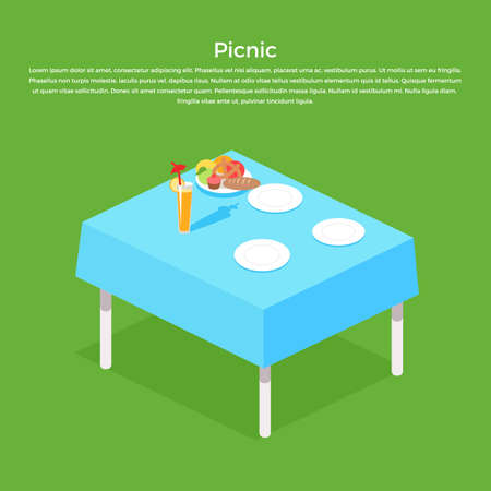 picnic tablecloth: Picnic isometric table with dishes flat design concept. Table with food, white plate with meal for dinner or lunch, nutrition dining on tablecloth and breakfast taste eating. Vector illustration Illustration