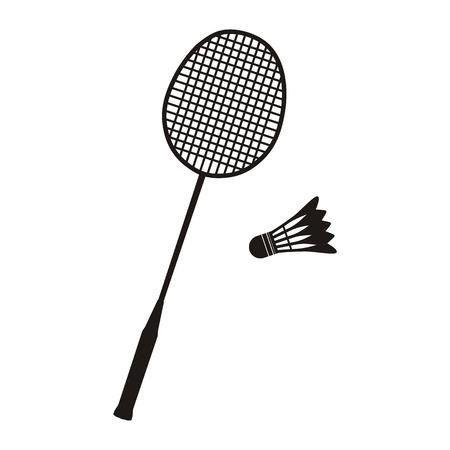 白地に黒のバドミントンのラケットとシャトル アイコン。スポーツのベクトル図  イラスト・ベクター素材