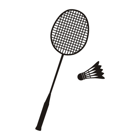 Badminton racket and shuttlecocks icon in black on white. Sport vector illustration Çizim