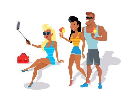 couple in summer: People relax in the summer isolated on white background. Cute girl in black glasses makes selfie. Loving couple eating ice cream. Summer person young and happy relax isolated. Vector illustration