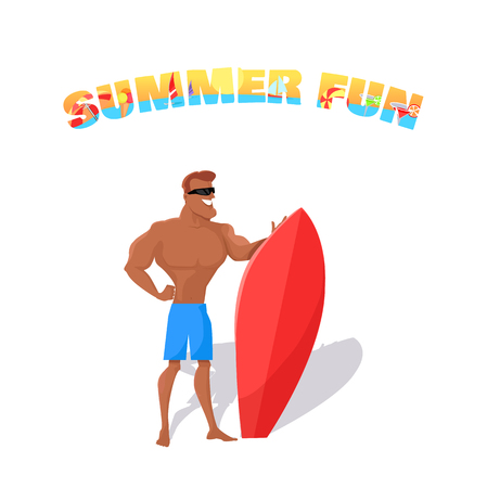 handsome guy: Summer fun banner concept design flat style. Young happy handsome guy with a surfboard isolated on white backfround. Summer vacation holiday and surfboard sport lifestyle, vector illustration